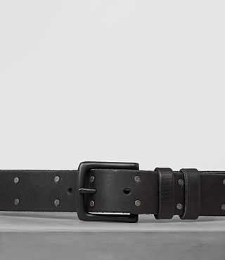 Mens Troop Slim Leather Belt (Jet Black) - Image 2