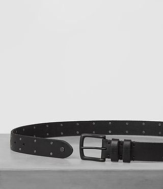 Mens Troop Slim Leather Belt (Jet Black) - product_image_alt_text_3