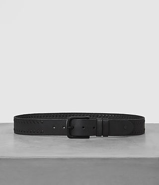 Mens Weave Leather Belt (Black)
