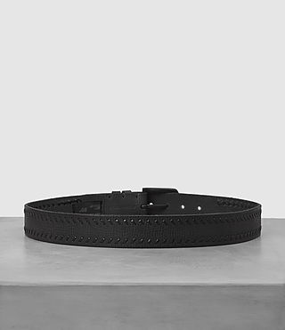 Mens Weave Leather Belt (Black) - product_image_alt_text_4