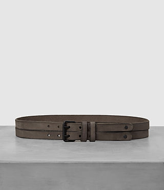 Men's Twin Leather Belt (LIGHT TAUPE) -