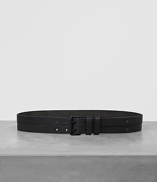 Mens Twin Leather Belt (ANTHRACITE GREY)