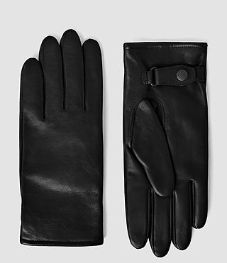 Hombres Yield Leather Gloves (Black)