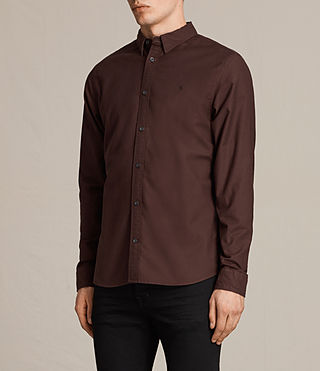 Hommes Hungtingdon Ls Shirt (Damson) - product_image_alt_text_3