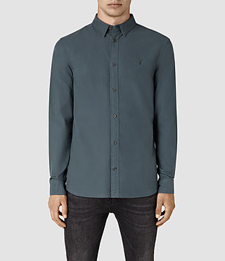 Herren Hungtingdon Ls Shirt (Deep Ocean Blue)