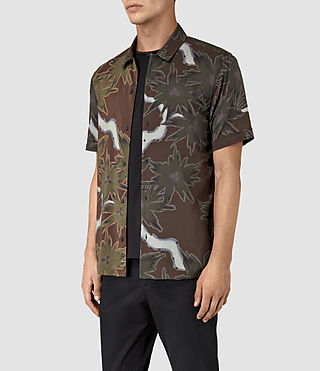 Hommes Zapata Short Sleeve Shirt (Brown) - product_image_alt_text_2
