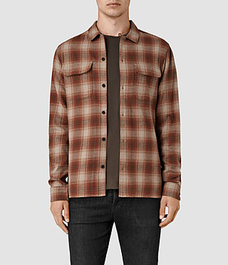 Mens Augusta Check Shirt (Rust) - product_image_alt_text_1