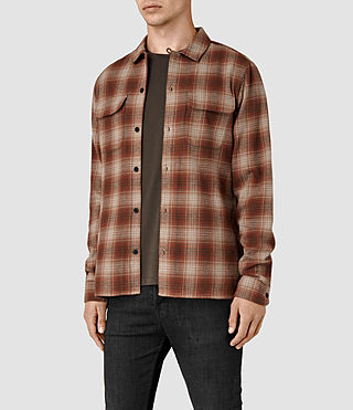 Mens Augusta Check Shirt (Rust) - product_image_alt_text_2