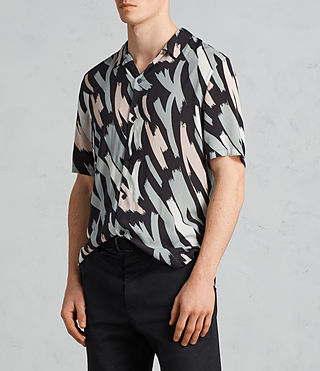 Men's Rope Short Sleeve Shirt (BLACK/CAMO) - Image 3