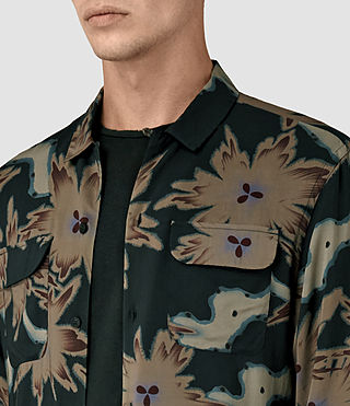 Uomo Shonto Ls Shirt (Bottle Green) - product_image_alt_text_3