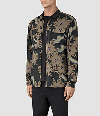 Uomo Shonto Ls Shirt (Bottle Green) - product_image_alt_text_4