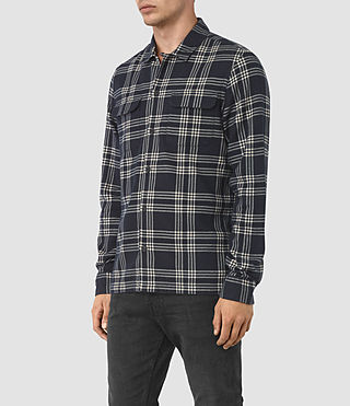 Mens Talpa Check Shirt (Ink) - product_image_alt_text_2