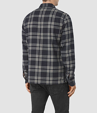 Mens Talpa Check Shirt (Ink) - product_image_alt_text_3