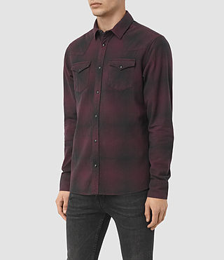 Hommes Bigfork Ls Shirt (Red) - product_image_alt_text_2