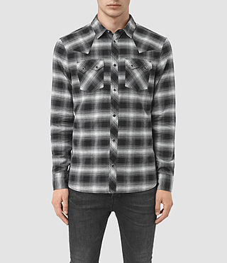 Hombre Powerville Ls Shirt (Black/Grey Check)