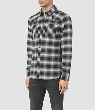 Hombres Powerville Shirt (Black/Grey Check) - product_image_alt_text_2