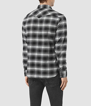 Hombres Powerville Shirt (Black/Grey Check) - product_image_alt_text_3