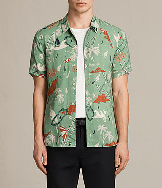 Hombres Ulua Short Sleeve Shirt (VINTAGE GREEN)