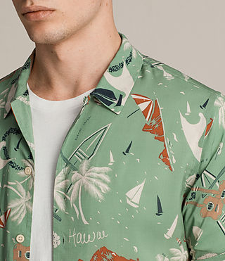 Hombres Ulua Short Sleeve Shirt (VINTAGE GREEN) - product_image_alt_text_2