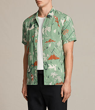Hombres Ulua Short Sleeve Shirt (VINTAGE GREEN) - product_image_alt_text_3