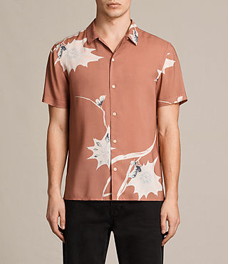 Mens Mokapu Short Sleeve Shirt (CINNAMON RED)
