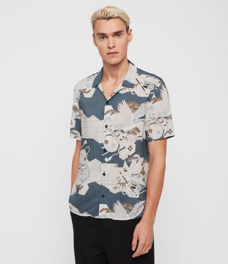 Herren Kahana Short Sleeve Shirt (Blue)