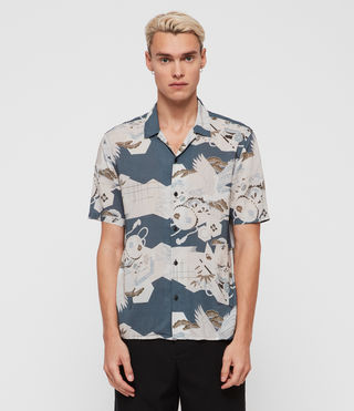 Men's Kahana Short Sleeve Shirt (Blue) - product_image_alt_text_3