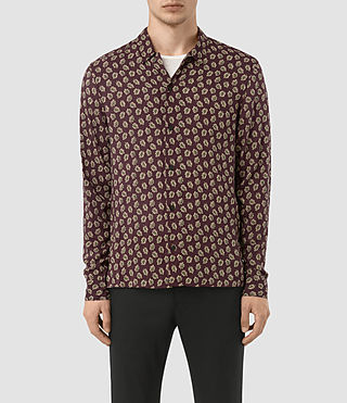 Hommes Serrate Ls Shirt (Oxblood)
