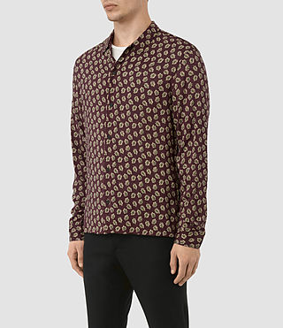 Hombres Serrate Ls Shirt (Oxblood) - product_image_alt_text_2