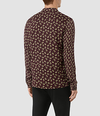 Hombres Serrate Ls Shirt (Oxblood) - product_image_alt_text_3