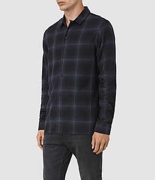 Mens Volborg Check Shirt (Dark Ink) - product_image_alt_text_2