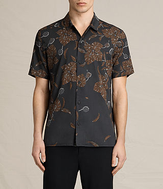 Hombres Kauai Short Sleeve Shirt (Jet Black)