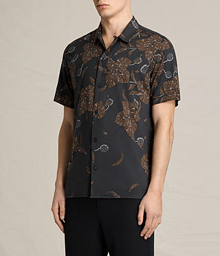 Mens Kauai Short Sleeve Shirt (Jet Black) - product_image_alt_text_2