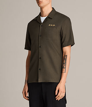 Mens Burbank Short Sleeve Shirt (Khaki) - Image 4