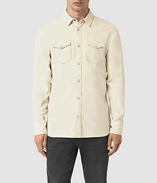 Mens Trappe Denim Shirt (Off White) - product_image_alt_text_1