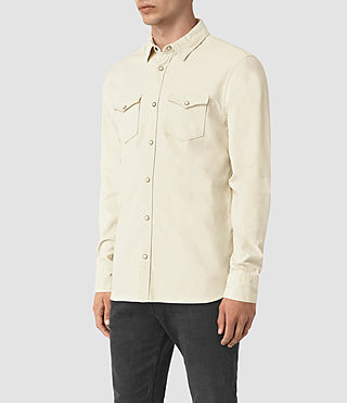 Mens Trappe Denim Shirt (Off White) - product_image_alt_text_2