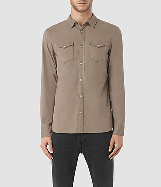 Mens Trappe Denim Shirt (Taupe) - product_image_alt_text_1