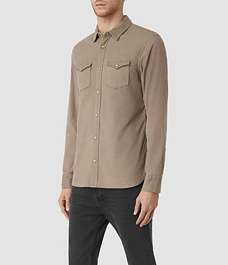 Mens Trappe Denim Shirt (Taupe) - product_image_alt_text_2