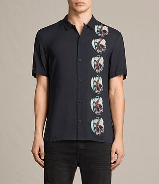 Men's Globus Short Sleeve Shirt (Jet Black) -