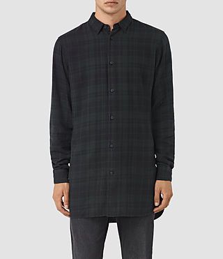 Hombres Downham Ls Shirt (Dark Green)