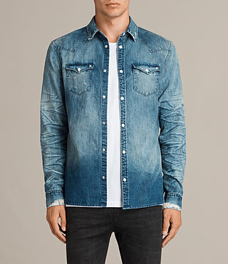 Men's Ikeoa Denim Shirt (Indigo Blue) -