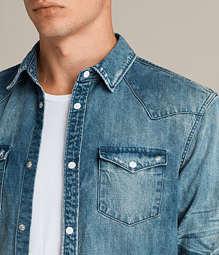 Men's Ikeoa Denim Shirt (Indigo Blue) - product_image_alt_text_2
