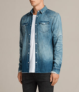 Men's Ikeoa Denim Shirt (Indigo Blue) - product_image_alt_text_3