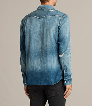 Men's Ikeoa Denim Shirt (Indigo Blue) - product_image_alt_text_4