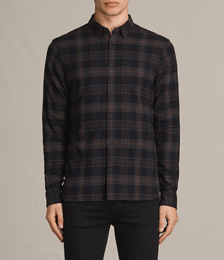 Hombres Camisa de manga larga Monson (Black Check) -