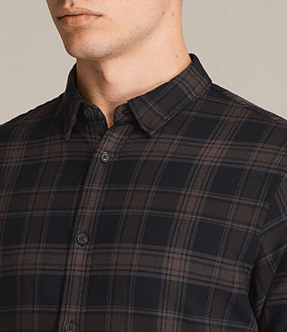 Hombres Camisa de manga larga Monson (Black Check) - product_image_alt_text_2