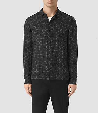 Mens Needles Long Sleeve Shirt (Jet Black)