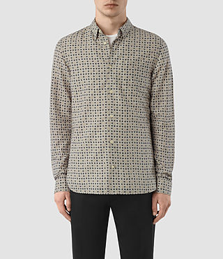 Hommes Grid Ls Shirt (Khaki Green)