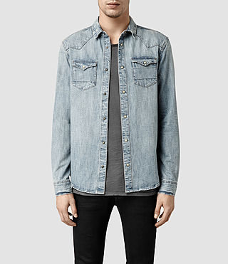 Mens Suqi Western Denim Shirt (Light Indigo)