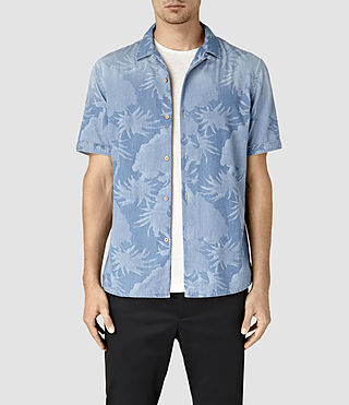 Hombres Manuka Short Sleeve Shirt (LIGHT INDIGO BLUE)